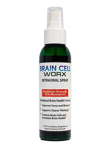 #1 Brain Health Booster - Improves Focus and Memory - Brain Cell Worx (Scientifically Proven, Intraoral - All Natural Brain Health Supplement - 95% Absorption - Pure Gingko, Alpha GPC and Resveratrol)