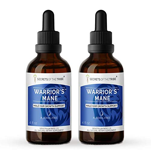 Secrets Of The Tribe - Warrior's Mane, Herbal Supplement Blend Drops Alcohol-Free Liquid Extract, Hair Growth Support (2x4 fl oz) 2x4 Fl Oz
