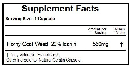Horny Goat Weed 550mg ~ 240 Capsules - No Additives ~ Naturetition Supplements