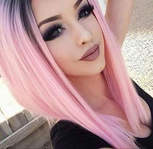 Ombre Pink Wig Short Straight Middle Part Wigs for Women Shoulder Length Colorful Wig Dark Roots Heat Resistant Synthetic Full Wigs Natural Looking(14inches) Ombre Pink