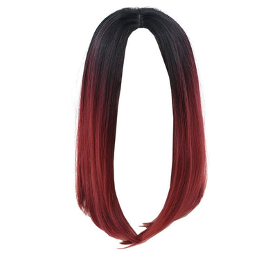 Short Straight Bob Wig Ombre Dark Roots Black to Wine Red Synthetic Wigs Hair Cosplay Replacement