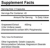 2 Bottles Grapeseed Extract 400mg Per Serving 180 Total Capsules KRK Supplements