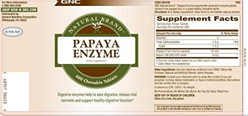 GNC Natural Brand Papaya Enzyme, 240 Tablets, Supports Healthy Digestive Function