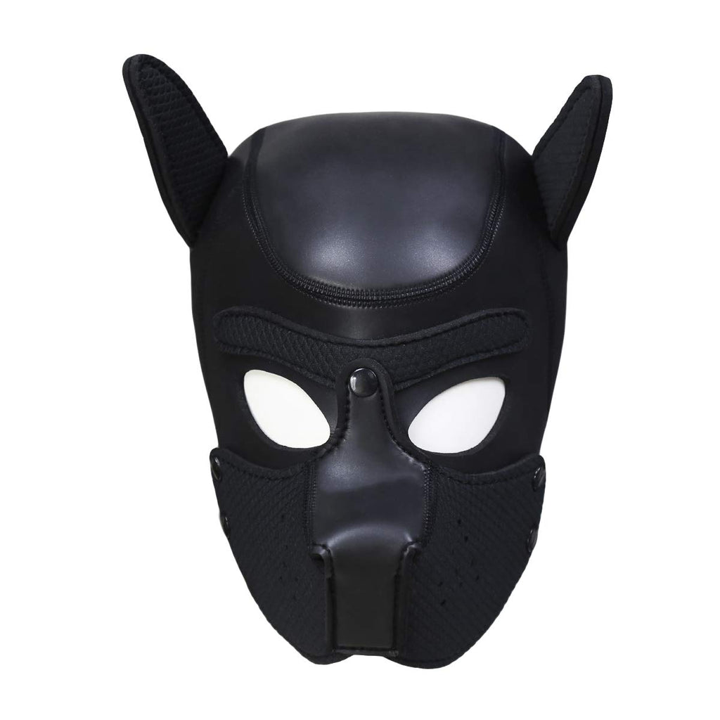 Zhengya Full Face Mask Dog Puppy Hood Leather Helmet Removable Mouth Cosplay Costume Party Props Medium Black