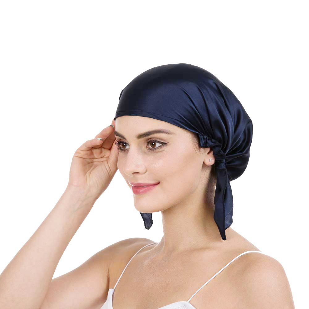 Savena 100% Mulberry Silk Night Sleeping Cap X-Large Size for Thick and Long Hair Bonnet Hat Smooth Soft Multi Colors, Hair Care Ebook Included (Navy Blue) Navy Blue