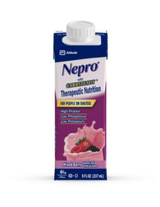 Nepro Complete Nutrition with Carb Steady Mixed Berry Liquid  8oz Reclosable Containers (Case of 24)