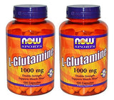 Now Foods L-Glutamine, Double Strength, 1000 mg, 120 Capsules, 2 Pack 120 Count (Pack of 2)