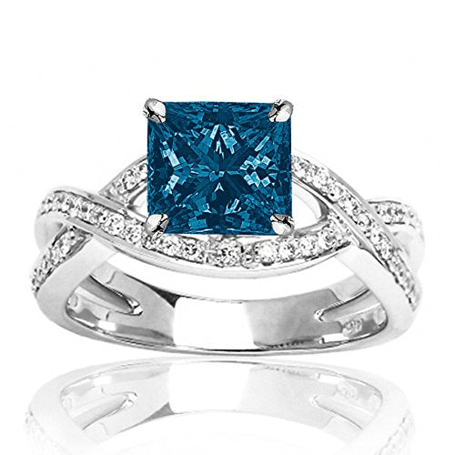 1.79 Carat t.w 14K White Gold Eternity Love Criss Cross Twisting Split Shank Diamond Engagement Ring w/a 1.5 Carat Princess Cut Blue Diamond Heirloom Quality white-gold 4.5