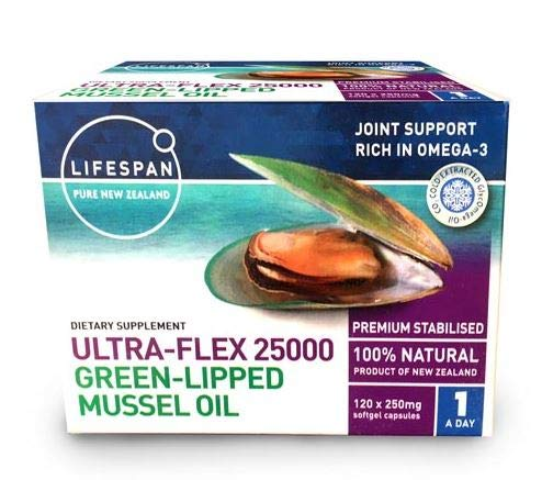 Ultra-Flex 25000 NZ Green LIPPED Mussel Oil (120caps)