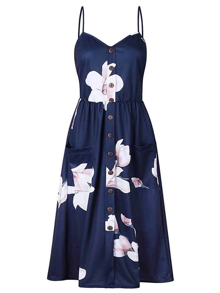 ECHOINE Women's Summer Dresses, Floral Boho Spaghetti Strap Button Down Swing Midi Beach Dress with Pockets X-Large Navy Floral02