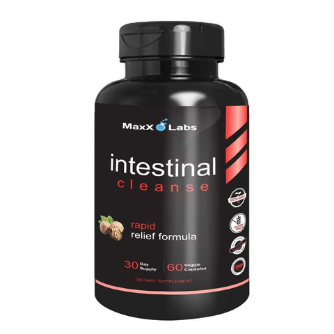 Intestinal Cleanse - New - Potent Formulation Includes Black Walnut Extract (Juglans Nigra), Ginger Root, FOS, Sweet Potato, Apple Cider Vinegar, Resveratrol and Clove Bud - 60 Veggie Caps