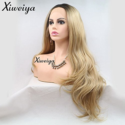 Xiweiya Ombre Blonde Synthetic Lace Front Wig For Women Natrual Look Dark Roots Body Wave Hair Heat Resistant Fiber Wigs