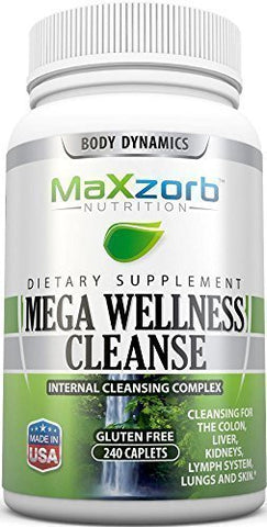 Mega Wellness Internal Cleanse Cleansing Complex – Natural Herbal Detox Cleanse – 240 caplets