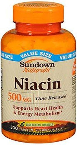 Sundown Naturals Niacin 500 mg Time Release Caplets - 200 ct, Pack of 5