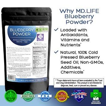 save $$ MD Life Blueberry Powder 100g Compare To BulkSupplements and Vimergy Save $$