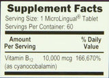 Superior Source No Shot Vitamin B12 Tablet, 10,000 mcg, 60 Count