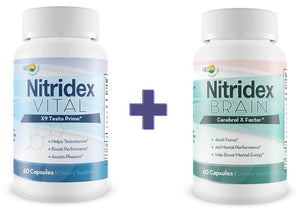 Nitridex - Vital X9 - Testo Prime - Male Testosterone Support - Assist Natural Male Function & Energy - with Yohimbe & and Blend of Potent and Natural Ingredients