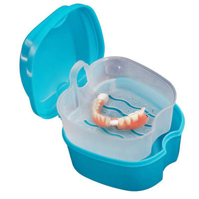 Denture Bath Box Case Dental False Teeth Storage Box with Hanging Net Container18 color
