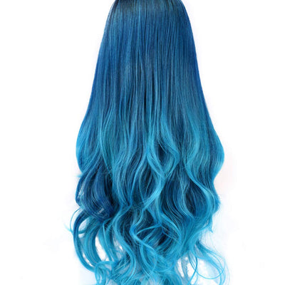 SEIKEA Blue Hair Wig with Root Long Wavy Curly Hair Cosplay Costume Color Ombre #3F25