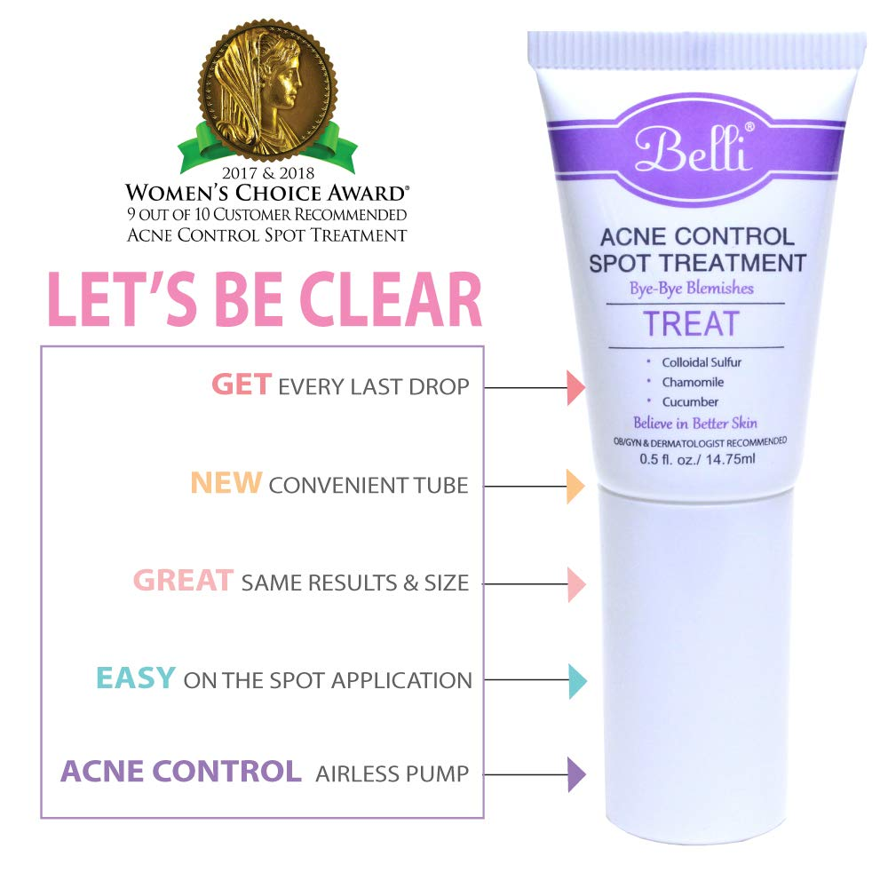 Belli Acne Control Spot Treatment – Clears Blemishes and Helps Prevent New Breakouts – OB/GYN and Dermatologist Recommended – 0.5 oz 0.5 Ounce