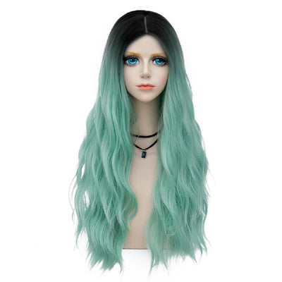 Probeauty Miracle &Forest Lady Collection Ombre Dark Root 70CM Long Curly Women Cosplay Wig 60cm Mint F12