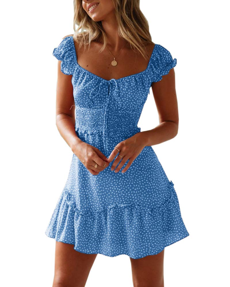 Valphsio Womens Smocked Dress Ruffle Floral Tie Front Boho Short Dresses XX-Large Blue