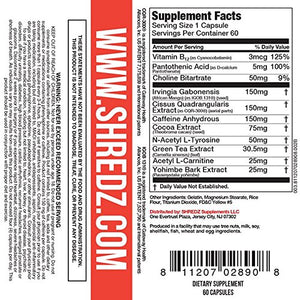 SHREDZ Thermogenic Fat Burner Supplement Pills for Men Maximum Strength, Burn Fat, Increase Energy, Best Way to Shed Pounds, 30 Day Supply (60 Capsules)