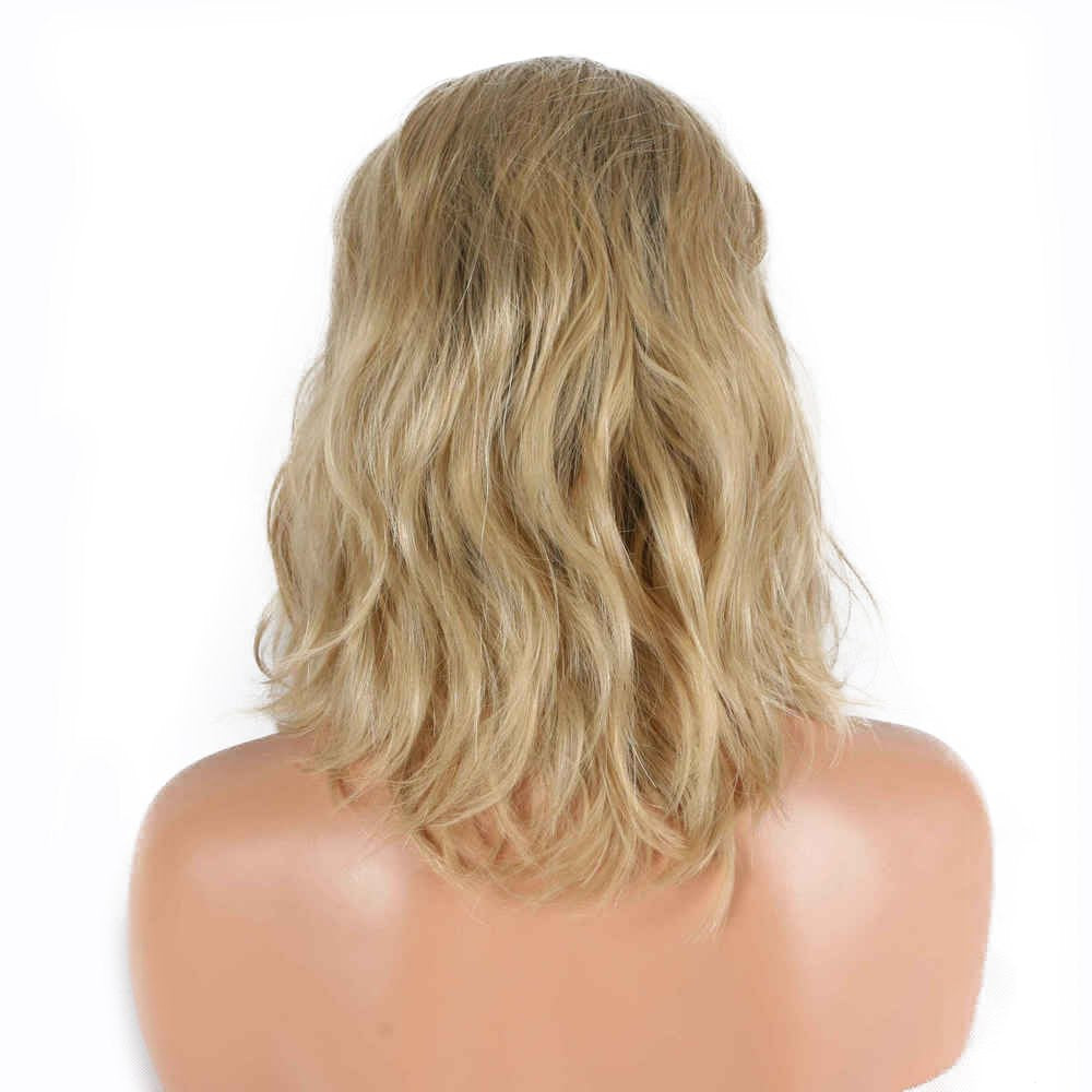 Blonde Short Bob Wigs Ombre Dark Roots Two Tone Heat Resistant Synthetic Lace Front Wigs For Drag Queen Natural Wave Middle Part Women Girls Replacement Short Hair Shoulder Length 14inches