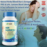 Her Harmony #1 Best Menopause Supplement w/Black Cohosh Relief from Mood Swings, Irritability, Hot Flashes, Night Sweats & Weight Gain Estrogen-Free Reset to Balance Hormones & Feel Good Again (HH-60) HH-60