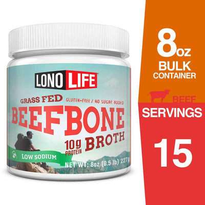 LonoLife Low-Sodium Grass-Fed Beef Bone Broth Powder with 10g Protein, 8-Ounce Bulk Container 1 Count