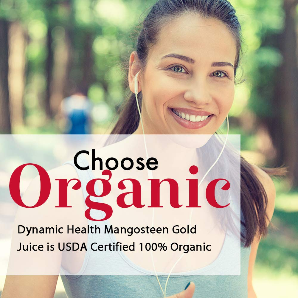 Dynamic Health mangosteen gold | Usda Certified Organic Mangosteen 100% Juice | vegetarian, Gluten-free, Bpa-free, Dietary Supplement | 32oz
