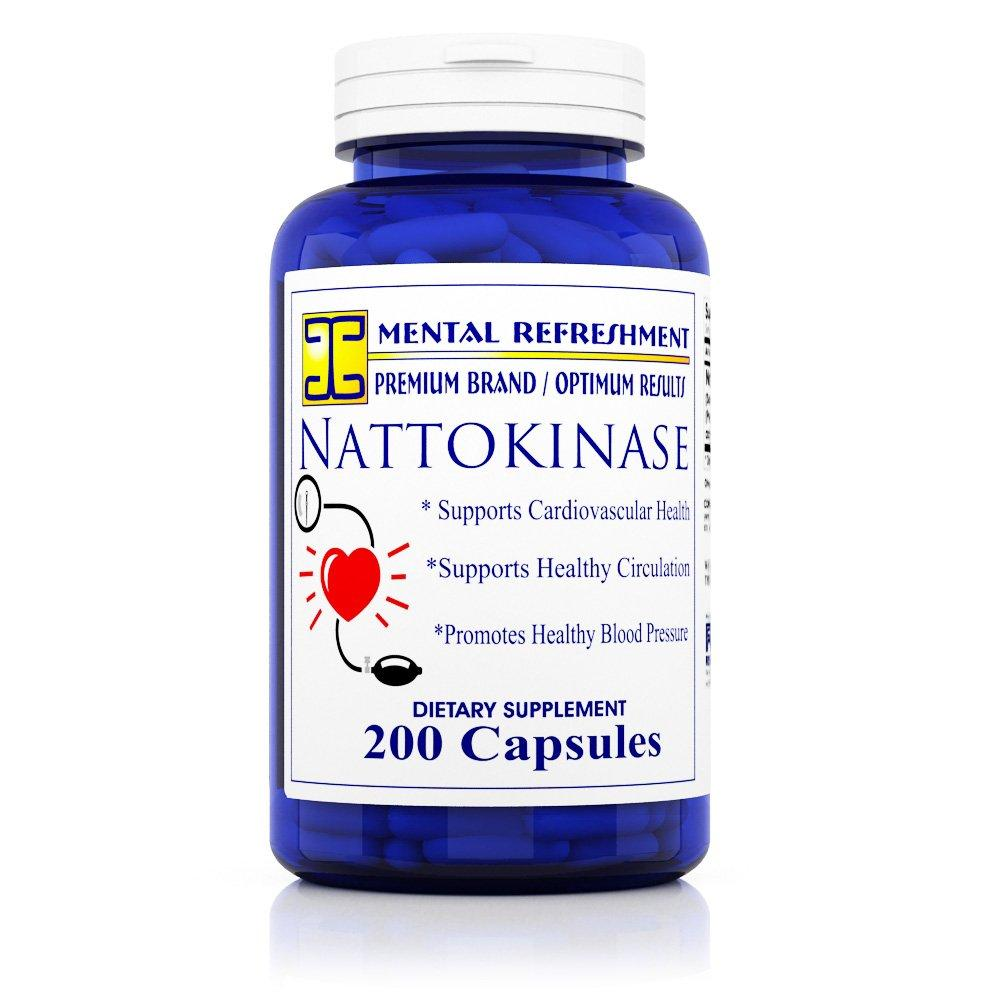 Mental Refreshment: Nattokinase 200 mg, 200 Capsules - Best for Maintaining a Healthy Heart, Natural Blood Thinner (1 Bottle)