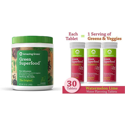 Amazing Grass Superfood Bundle - Original Superfood Greens Powder & Electrolyte Drink Tablets, Watermelon Lime, 30 Servings