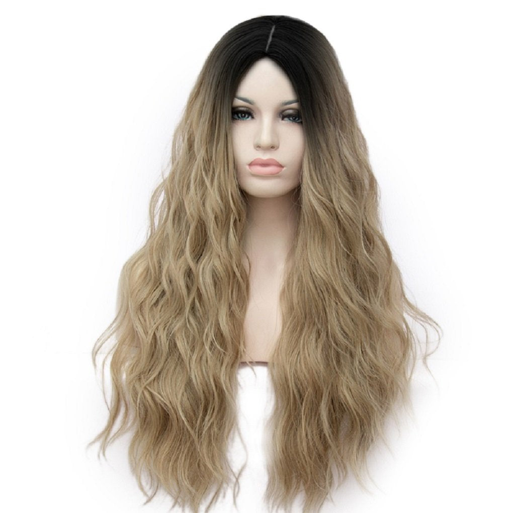Alacos 70CM Long Wavy Curly Black Roots Ombre Synthetic Cosplay Christmas Party Costumes Wigs for Women +Free Wig Cap (Ombre Light Brown) Ombre Light Brown