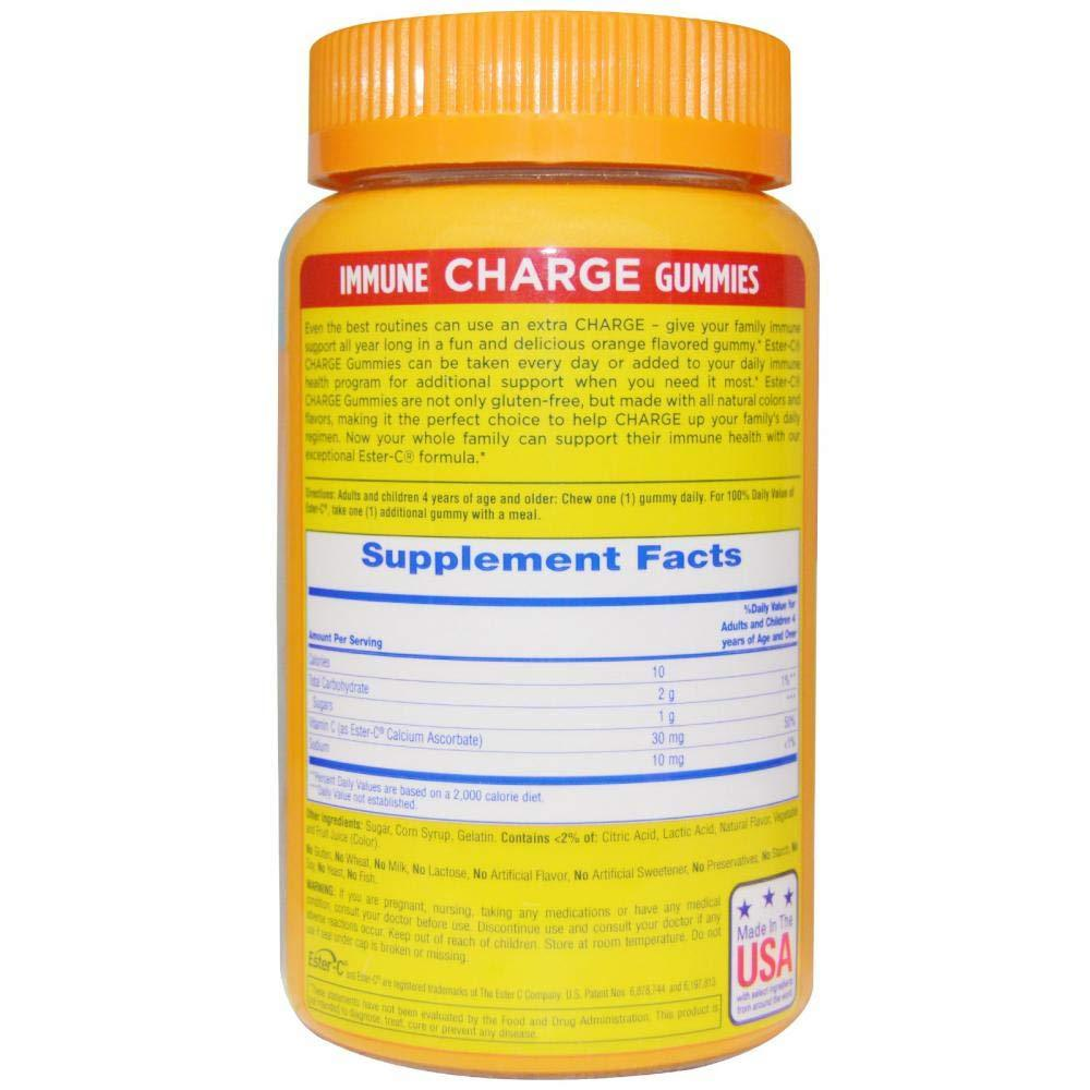 Ester-C Immune Charge Vitamin Supplement Gummies Orange Flavor - 60 ct, Pack of 2