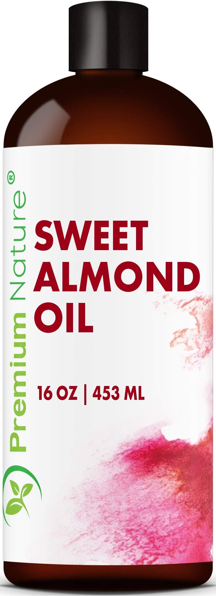 Sweet Almond Oil Carrier Oil - Cold Pressed Pure Natural Body Massage Oils for Essential Oils Mixing, Baby Oil Dry Skin Face Moisturizer Eye Makeup Remover Healthy Nails Cleansing Properties 16 oz 1 pack