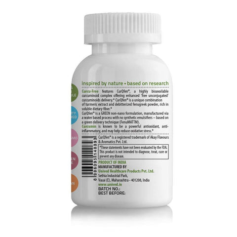 Unived Curcu-Free, Highest 'Free Unconjugated Curcuminoids Delivery', Patented CurQfen (Curcumin & Fenugreek), 500mg Curcumin, Water Based, Non-Nano, No Solvent, 60 Vegan Caps, 1 Daily, 2 Month Supply