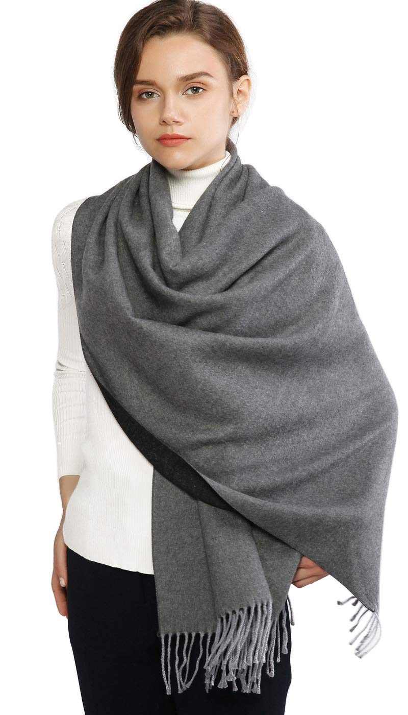 RIIQIICHY Winter Cashmere Wool Scarf Pashmina Shawl Wrap for Women Long Large Warm Thick Reversible Scarves Gray and Black