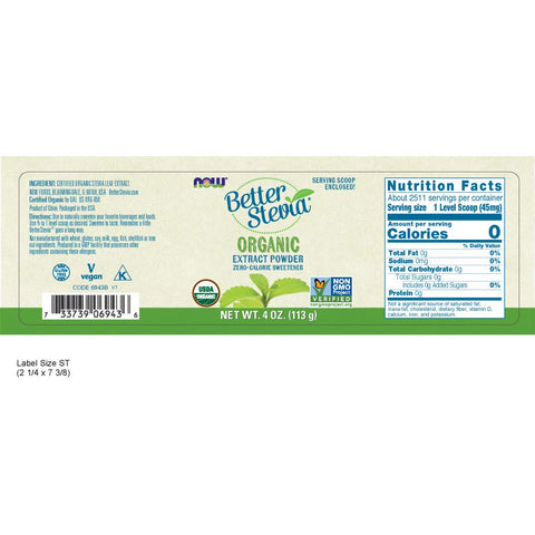 Now  Better Stevia Organic Sweetener, 4 oz.