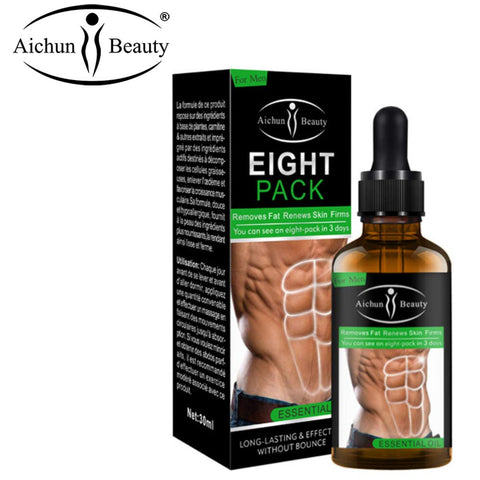 AICHUN BEAUTY Eight Pack Abdominal Essential Oil For Men Strong Waist Manly Torso Smooth Lines Press Fitness Belly Burning Muscle Fat Remove Renews Skin Weight Loss Slimming Cream 30ml