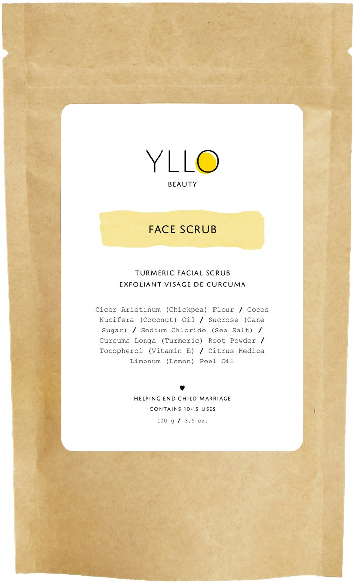 YLLO Beauty - Turmeric Face Scrub - Turmeric & Chickpea Flour Exfoliant for All Skin Types, 100 Grams