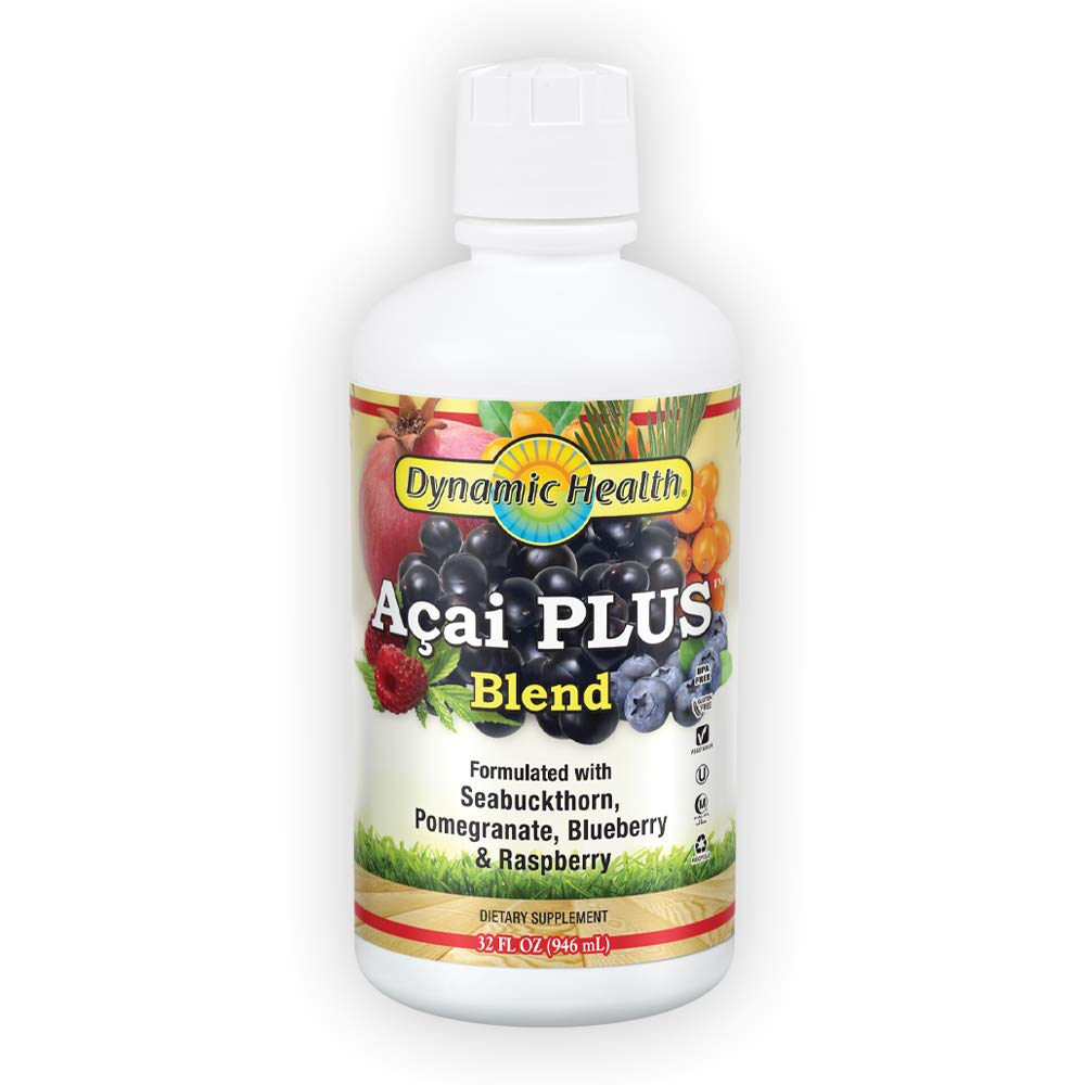 Dynamic Health Acai Plus Blend | with Seabuckthorn, Pomegranate, Raspberry & More | Vegetarian, Gluten-Free | 32oz, 32 Serv