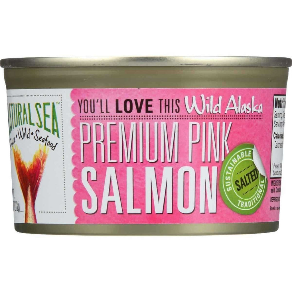 Natural Sea Premium Alaskan Pink Salmon - Salted, 7.5 Ounce -- 12 per case.