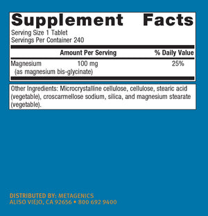Metagenics - Mag Glycinate, 240 Count