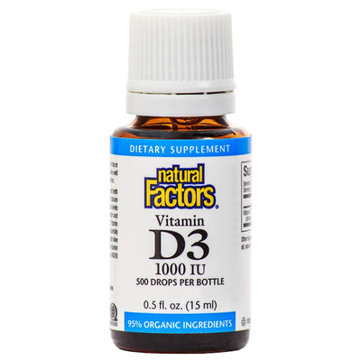 Natural Factors, Vitamin D3 Drops 1000 IU, Supports Strong Bones, Teeth and Immune Function with Flaxseed, Palm and Coconut Oils, 0.5 fl oz (500 servings) 0.5 Ounce Standard Packaging