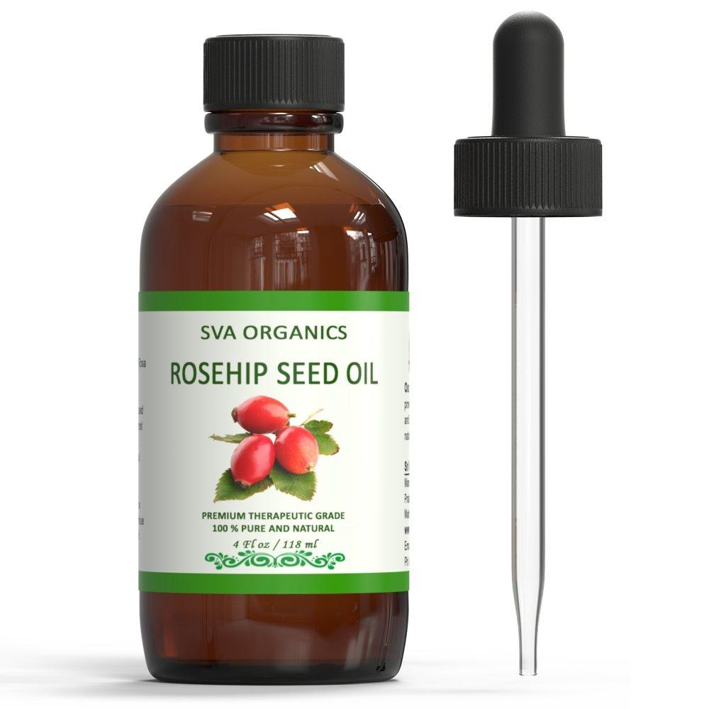 SVA Organics Rosehip Oil Cold Pressed 4 Oz 100% Pure Natural Premium Therapeutic Grade Unrefined Carrier Oil with Dropper for Face, Skin, Body, Lips, Hair Care, Massage
