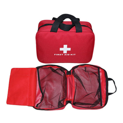 Aoutacc Nylon First Aid Empty Kit,Compact and Lightweight First Aid Bag for Emergency at Home, Office, Car, Outdoors, Boat, Camping, Hiking(Bag Only) Red With Handles