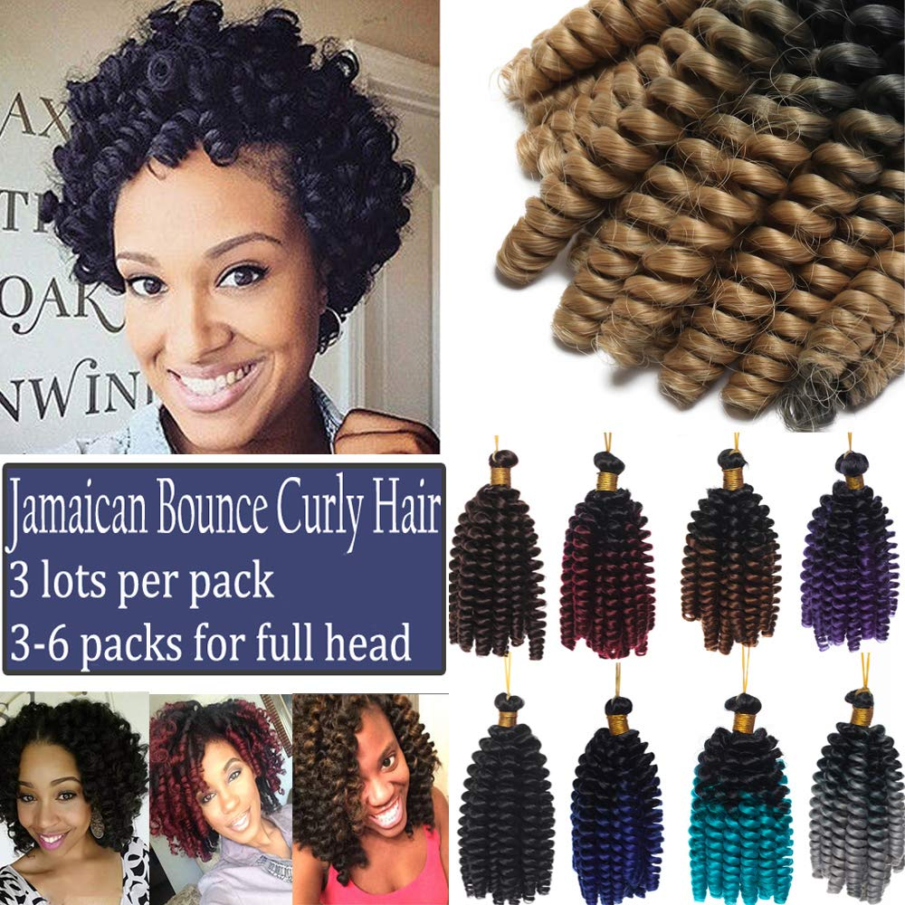 Curly Jamaican Bounce Jumpy Wand Crochet Hair Braid Spring Curl Braiding Hairpiece Synthetic Twist Hair Black to Grey 6 Inch/3 Bundles