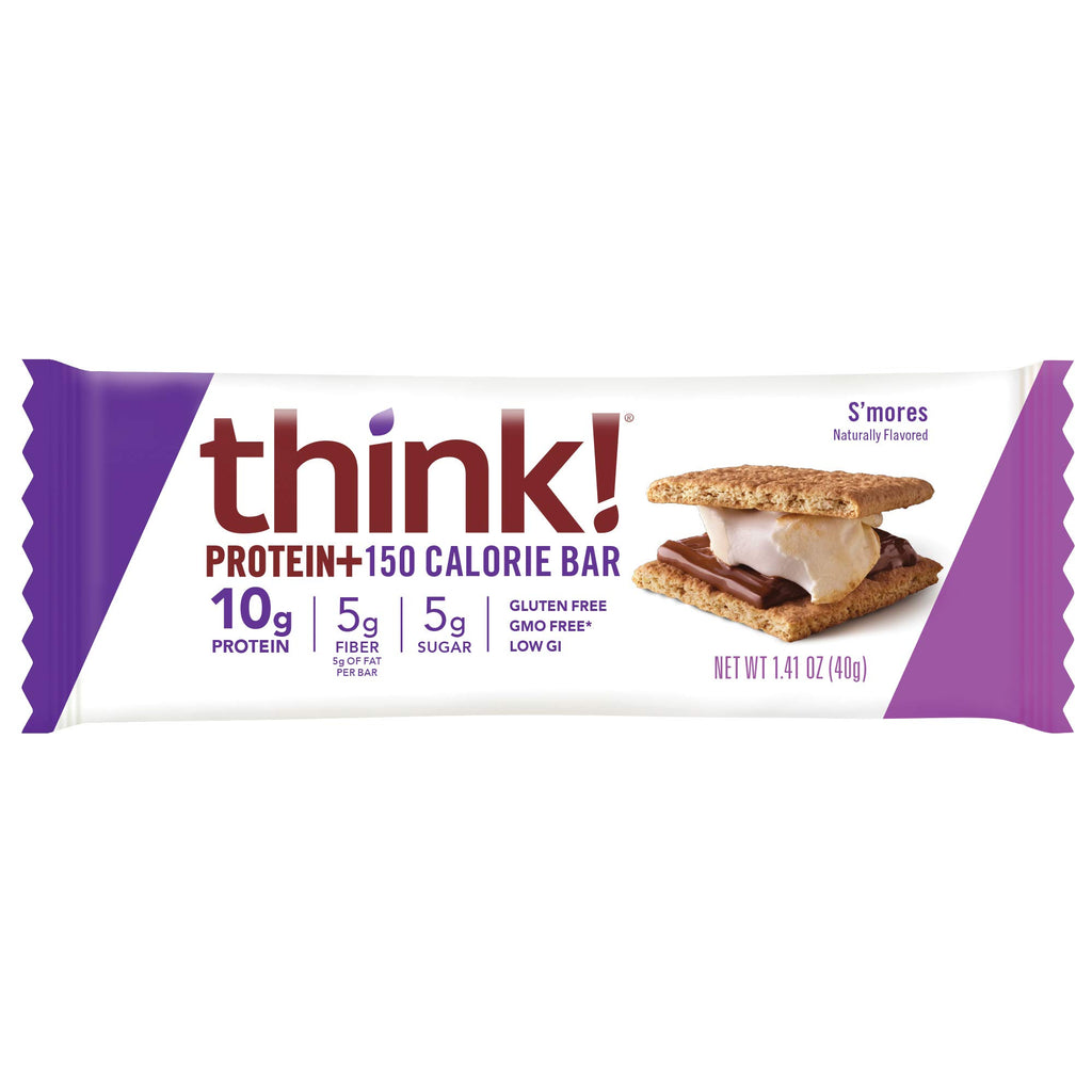think!, Protein+ 150 Calorie Bars - S'mores, 10g Protein, 5g Sugar, No Artificial Sweeteners, Gluten Free, GMO Free, 1.4 Ounce bar