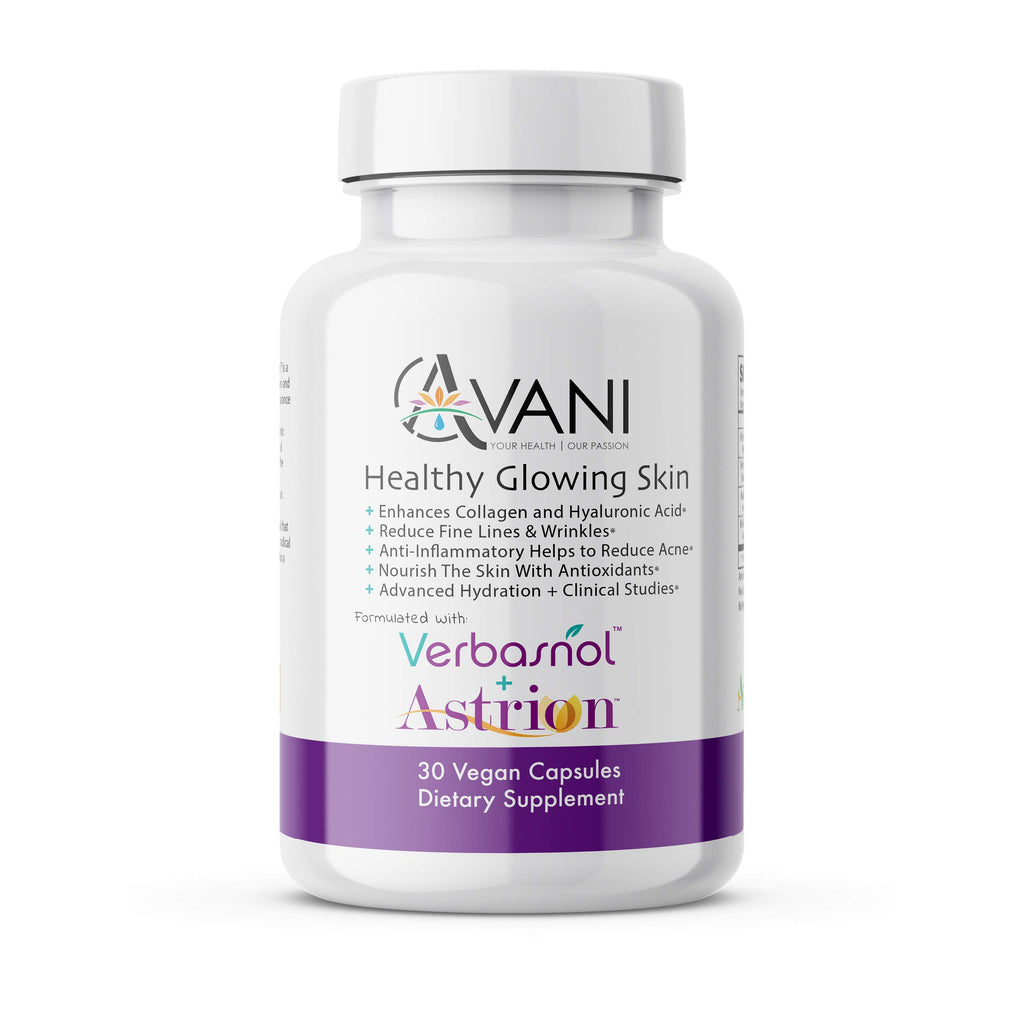 Avani Health – Healthy Glowing Skin – Skin Care Supplement, Enhances Collagen & Hyaluronic Acid, Revitalize Fine Lines & Wrinkles, Add to Skin Care Routine, Gluten Free, Non-GMO, 30 Vegan Caps